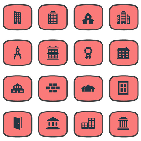 Vector Illustration Set Of Simple Construction Icons. Elements Block, Gate, Residential And Other Synonyms Stone, Windows And Flat. Illustration