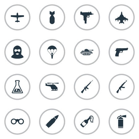 colt: Vector Illustration Set Of Simple Battle Icons. Elements Helicopter, Air Bomber, Molotov And Other Synonyms Gun, Bomb And Fire.