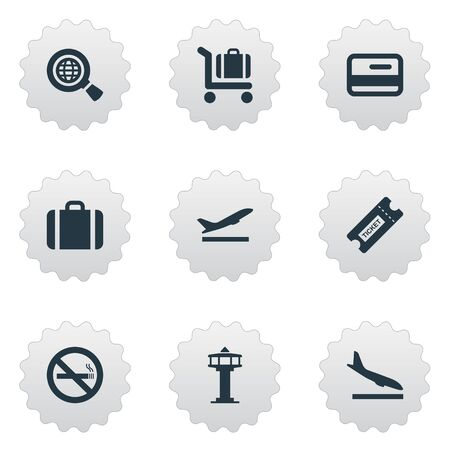 Vector Illustration Set Of Simple Transportation Icons. Elements Credit Card, Coupon , Handbag Synonyms Airplane, Stop And Credit.
