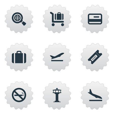 벡터 일러스트 레이 션 간단한 교통 아이콘의 집합입니다. 요소 신용 카드, 쿠폰, 핸드백 동의어 비행기, 그만하고 신용. 일러스트