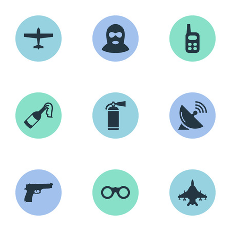 Vector Illustration Set Of Simple Battle Icons. Elements Sky Force, Extinguisher, Signal Receiver And Other Synonyms Smother, Arm And Force.
