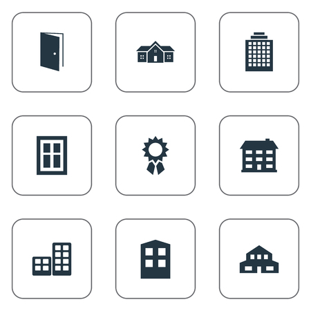 residency: Vector Illustration Set Of Simple Structure Icons. Elements Construction, Residence, Residential And Other Synonyms House, Apartment And Offices. Illustration