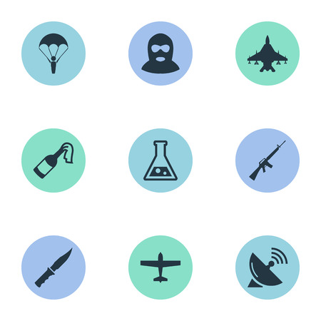 Vector Illustration Set Of Simple Battle Icons. Elements Chemistry, Signal Receiver, Sky Force And Other Synonyms Chemistry, Offender And Bomb.
