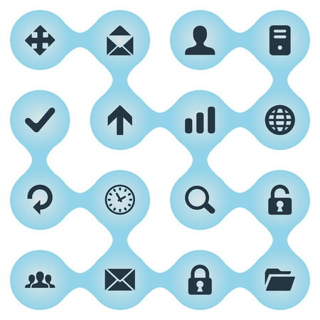 Vector Illustration Set Of Simple Apps Icons. Elements Message, Open Padlock, Arrows And Other Synonyms Search, Message And Ticker.