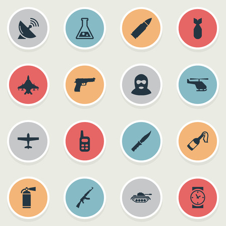 Vector Illustration Set Of Simple Military Icons. Elements Chemistry, Molotov, Sky Force And Other Synonyms Fighter, Clock And Communication.