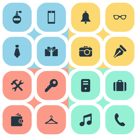 Vector Illustration Set Of Simple  Icons. Elements Call Button, Hanger, Fragrance And Other Synonyms Nib, Key And Eyeglasses. Illustration
