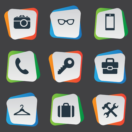 vision repair: Vector Illustration Set Of Simple Instrument Icons. Elements Digital Camera, Business Bag, Repair And Other Synonyms Sunglasses, Briefcase And Telephone. Illustration