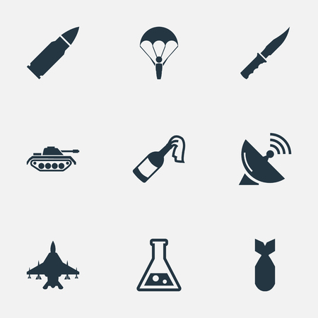 nuke: Vector Illustration Set Of Simple Army Icons. Elements Nuke, Sky Force, Paratrooper And Other Synonyms Parachutist, Tank And Chemistry.