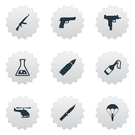 Vector Illustration Set Of Simple Army Icons. Elements Helicopter, Chemistry, Kalashnikov And Other Synonyms Firearm, Bullet And Uzi.