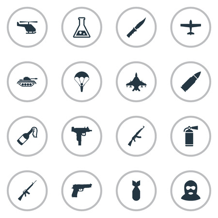 m16 ammo: Vector Illustration Set Of Simple Terror Icons. Elements Paratrooper, Heavy Weapon, Cold Weapon And Other Synonyms Arm, Heavy And Laboratory. Illustration