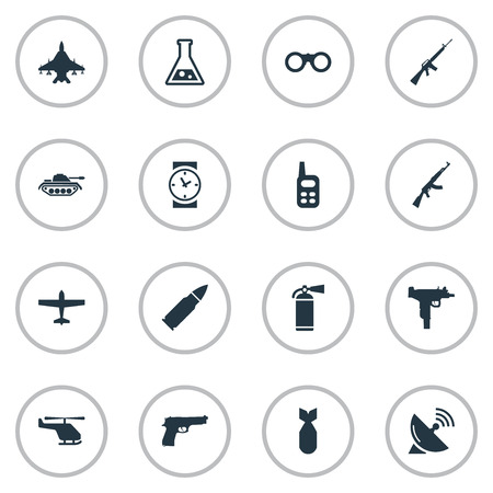 Vector Illustration Set Of Simple Military Icons. Elements Watch, Nuke, Ammunition And Other Synonyms Communication, Bomber And Time.