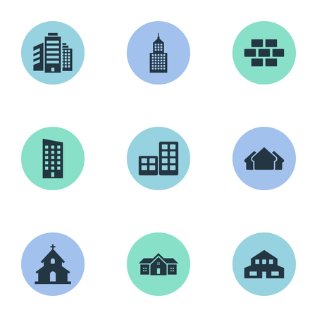 superstructure: Vector Illustration Set Of Simple Construction Icons. Elements Floor, Residence, Flat And Other Synonyms Edifice, Superstructure And Residential.