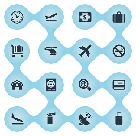 Vector Illustration Set Of Simple Transportation Icons. Elements Baggage Cart, Antenna, Protection Tool And Other Synonyms Wold, Antenna And Smoke.