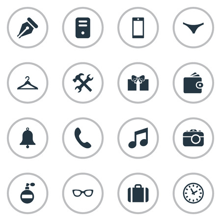 Vector Illustration Set Of Simple Instrument Icons. Elements Underwear, Mobile Phone, Briefcase And Other Synonyms Telephone, Fragrance And Bell.