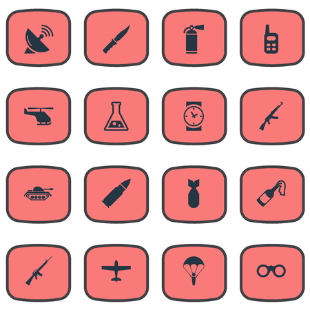 Vector Illustration Set Of Simple Battle Icons. Elements Chemistry, Helicopter, Cold Weapon And Other Synonyms Aviation, Dagger And Receiver.
