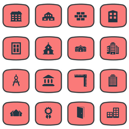 residency: Vector Illustration Set Of Simple Construction Icons. Elements Popish, Shelter, Offices And Other Synonyms Stone, Length And Domicile.