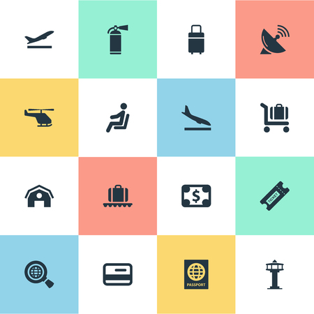 Vector Illustration Set Of Simple Travel Icons. Elements Antenna, Global Research, Protection Tool And Other Synonyms Ticket, Sitting And Baggage.