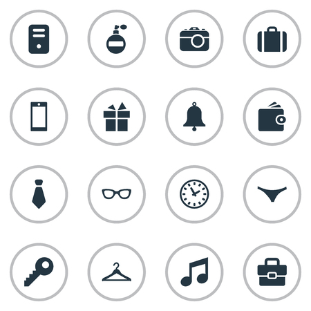 Vector Illustration Set Of Simple Accessories Icons. Elements Password, Ring, Billfold And Other Synonyms Clothes, Panties And Bag. Illustration