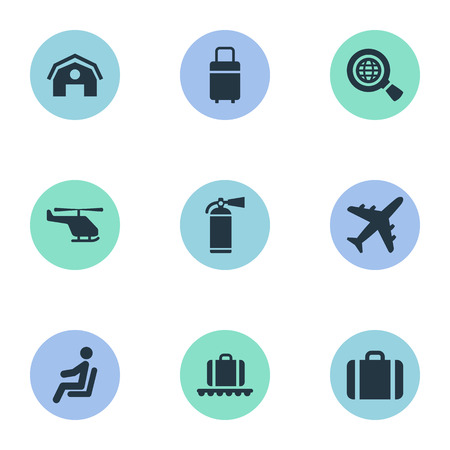 Vector Illustration Set Of Simple Travel Icons. Elements Luggage Carousel, Garage, Plane And Other Synonyms Copter, Case And Aircraft.
