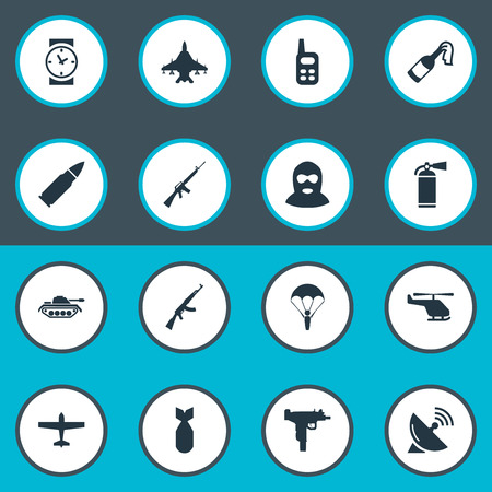 parachuter: Vector Illustration Set Of Simple Army Icons. Elements Rifle Gun, Paratrooper, Terrorist And Other Synonyms Bomb, Communication And Bullet.