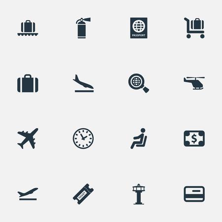 벡터 일러스트 레이 션 간단한 여행 아이콘의 집합입니다. 시민권, 핸드백, 쿠폰의 동의어 동의어 컨베이어, 방문 및 신용. 일러스트