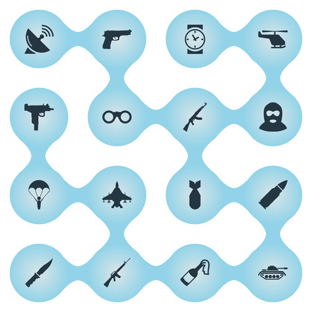 Vector Illustration Set Of Simple Terror Icons. Elements Watch, Terrorist, Firearm And Other Synonyms Copter, Gun And Dagger.