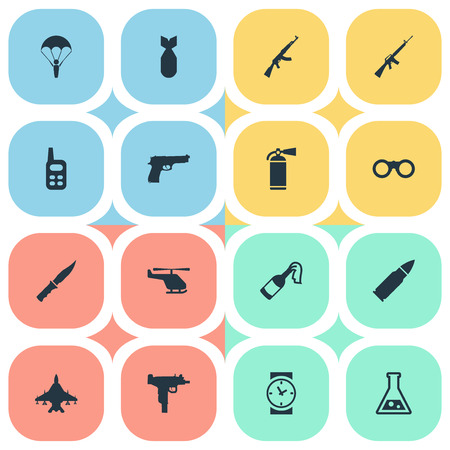 Vector Illustration Set Of Simple War Icons. Elements Walkies, Cold Weapon, Sky Force And Other Synonyms Paratrooper, Laboratory And Smother.