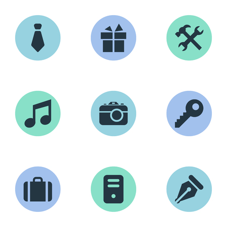 gratuity: Vector Illustration Set Of Simple Instrument Icons. Elements Music, Briefcase, Present And Other Synonyms Gratuity, Suitcase And Keyhole.