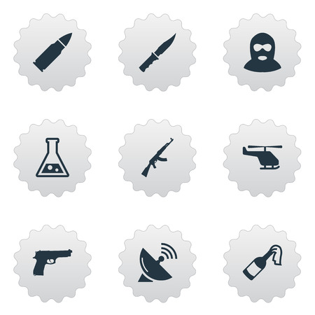 Vector Illustration Set Of Simple Army Icons. Elements Chemistry, Cold Weapon, Pistol And Other Synonyms Gun, Fire And Terrorist.