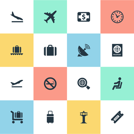 Vector Illustration Set Of Simple Airport Icons. Elements Antenna, Currency, Seat And Other Synonyms Aircraft, Fly And Antenna.