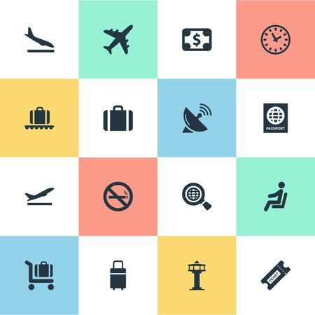 벡터 일러스트 레이 션 간단한 공항 아이콘의 집합입니다. 요소 안테나, 통화, 좌석 및 기타 동의어 항공기, 비행 및 안테나입니다. 일러스트