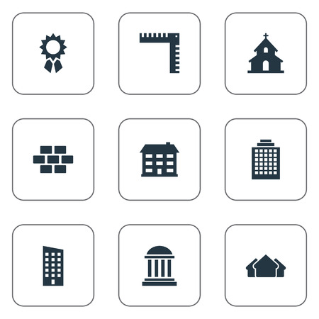 residency: Vector Illustration Set Of Simple Structure Icons. Elements School, Academy, Stone And Other Synonyms Wall, Medal And Realty.