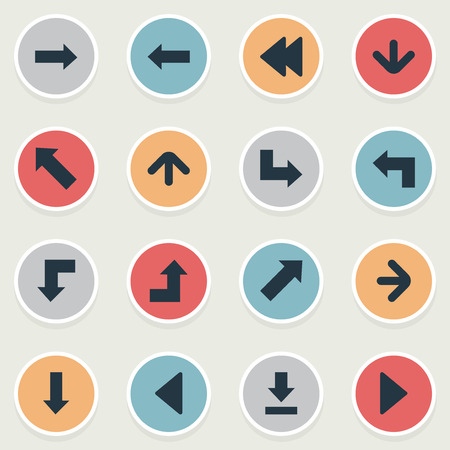 Vector Illustration Set Of Simple Indicator Icons. Elements Pointer, Indicator, Right Direction And Other Synonyms Pointing, Down And Growing. Иллюстрация