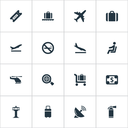 Vector Illustration Set Of Simple Plane Icons. Elements Alighting Plane, Protection Tool, Travel Bag And Other Synonyms Protection, Case And Tower.