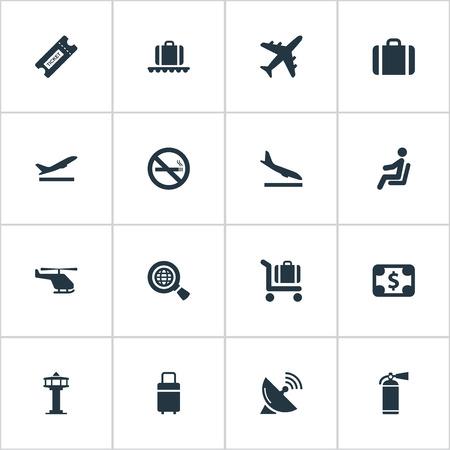 벡터 일러스트 레이 션 간단한 비행기 아이콘의 집합입니다. 비행기, 보호 도구, 여행 가방 및 다른 동의어 보호, 사례 및 타워 Alighting 요소.