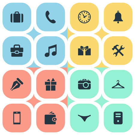 Vector Illustration Set Of Simple Instrument Icons. Elements Hanger, Gift, Business Bag And Other Synonyms Camera, Diplomat And Handbag. Imagens - 73334617