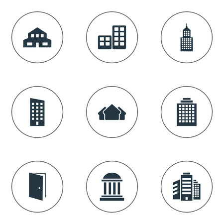 Vector Illustration Set Of Simple Construction Icons. Elements Structure, Shelter, Superstructure And Other Synonyms Rooms, Architecture And Shelter. Illustration