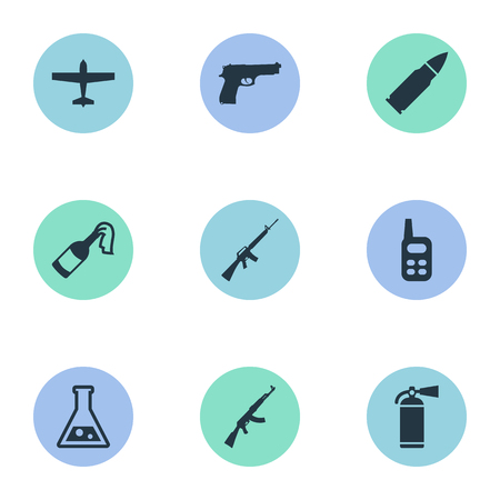Vector Illustration Set Of Simple Terror Icons. Elements Chemistry, Ammunition, Walkies And Other Synonyms Bomber, Gun And Arm. Illustration