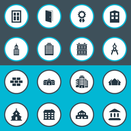 Vector Illustration Set Of Simple Architecture Icons. Elements Stone, Booth, Structure And Other Synonyms Superstructure, Gate And Reward.