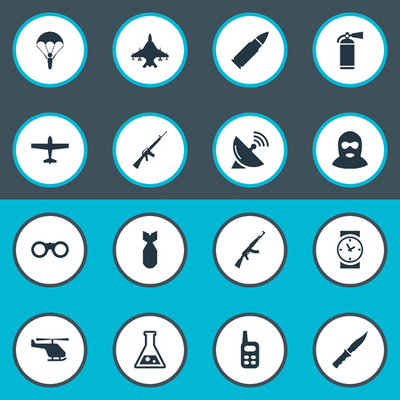 nuke: Vector Illustration Set Of Simple Army Icons. Elements Helicopter, Nuke, Field Glasses And Other Synonyms Walkies, Chemistry And Receiver.