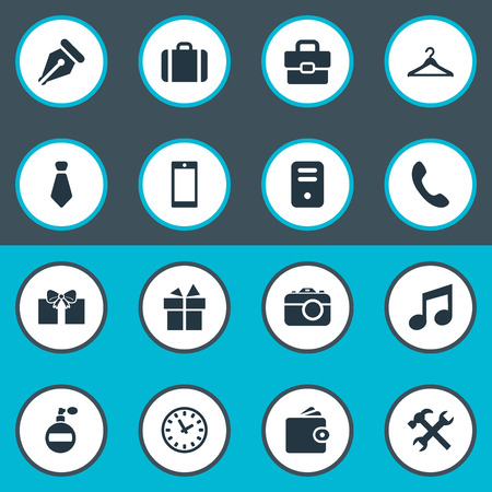 Vector Illustration Set Of Simple Instrument Icons. Elements Hanger, Repair, Mobile Phone And Other Synonyms Clock, Photographing And Gift.