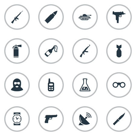 Vector Illustration Set Of Simple War Icons. Elements Field Glasses, Terrorist, Pistol And Other Synonyms Bullet, Receiver And Binoculars. Illustration