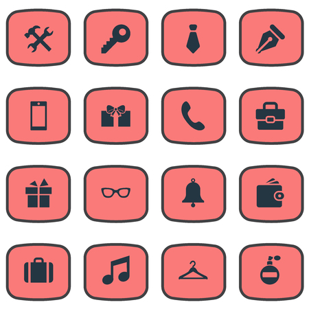 formal signature: Vector Illustration Set Of Simple Instrument Icons. Elements Password, Music, Ring And Other Synonyms Hook, Give And Mobile. Illustration