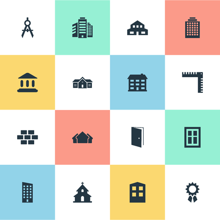 Vector Illustration Set Of Simple Structure Icons. Elements Engineer Tool, Residential, Superstructure And Other Synonyms Premises, Shanty And Apartment.