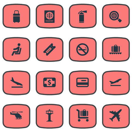 Vector Illustration Set Of Simple Transportation Icons. Elements Alighting Plane, Global Research, Credit Card And Other Synonyms Plane, Currency And Money. 일러스트