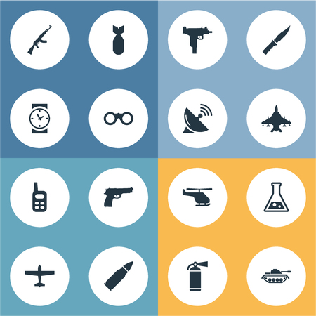 Vector Illustration Set Of Simple Terror Icons. Elements Sky Force, Cold Weapon, Pistol And Other Synonyms Bomber, Binoculars And Weapon.