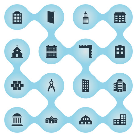 Vector Illustration Set Of Simple Architecture Icons. Elements Structure, Academy, Superstructure And Other Synonyms Residence, Cottage And Scale. Illustration