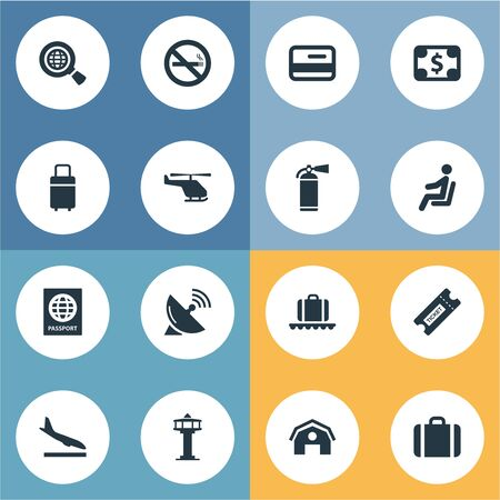 Vector Illustration Set Of Simple Travel Icons. Elements Protection Tool, Travel Bag, Flight Control Tower And Other Synonyms Landing, Extinguisher And Credit.