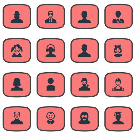 inspector: Vector Illustration Set Of Simple Avatar Icons. Elements Postgraduate, Portrait, Insider And Other Synonyms Inspector, Engineer And Personal.