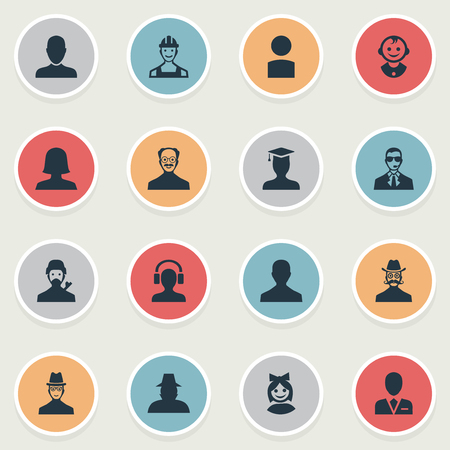 Vector Illustration Set Of Simple Avatar Icons. Elements Moustache Man, Male User, Mysterious Man And Other Synonyms Graduate, Bodyguard And Avatar. Illustration